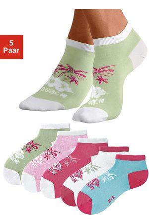 H.I.S Dames Sokken & Kousen - Sneakersokken in kleurrijk hawaï-design (5 paar)