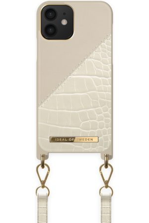 Ideal of sweden Dames Telefoon - Atelier Phone Necklace Case iPhone 12 Cream Beige Croco
