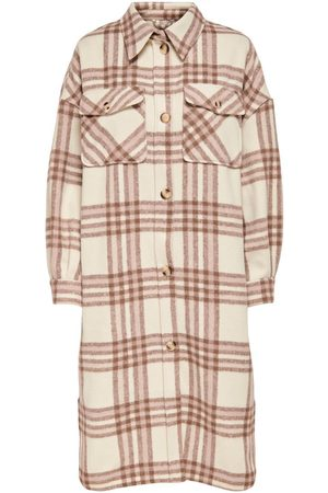 ONLY Dames Jacks - Long Checked Jacket Dames White
