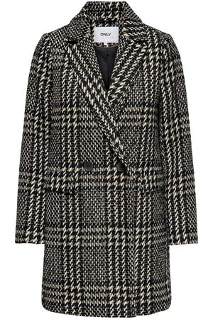 ONLY Checked Wool Coat Dames Bruin