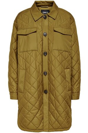 Only Dames Jacks - Long Quilted Jacket Dames Geel