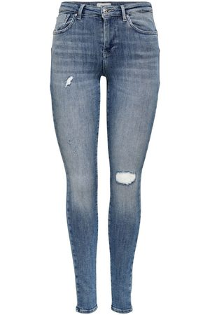Only Dames Skinny - Onlpower Life Mid Push Skinny Jeans Dames Blauw