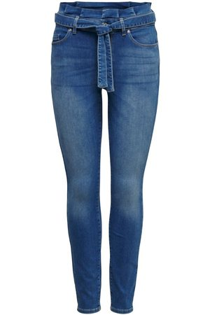 Only Onlhush Life Mid Ankle Paperbag Skinny Jeans Dames Blauw