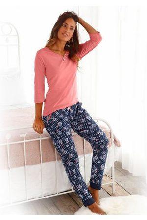 H.I.S Dames Pyjama's - Pyjama met 3/4-mouwen en knoopsluiting