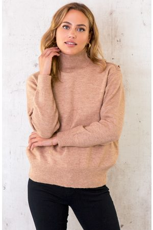 The Musthaves Dames Sweaters - Button Col Sweater Camel