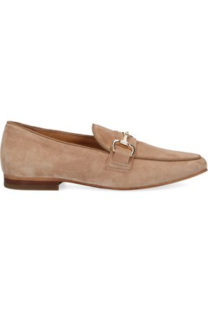 Manfield Dames Loafers - Nubuck loafers met chain detail