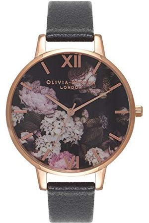Olivia Burton Dames analoog kwarts horloge met lederen armband OB15WG12