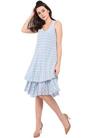 Bonamaison Halflange V-hals jurk met stippenprint en dubbele ruches casual