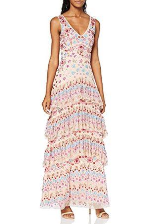 Maya Deluxe Vrouwen Multi verfraaid gelaagde ruches Detail Maxi jurk bruidsmeisje, 6