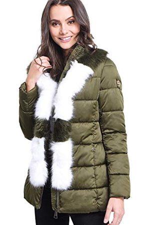 Bonamaison Dames Mid-length Puffer Jacket met Faux-fur Panel T-Shirt