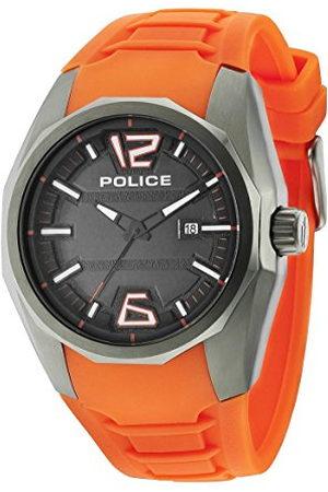 Police Herenhorloge 47.5mm armband silicone marine behuizing roestvrij staal batterij analoog 14763JSU02