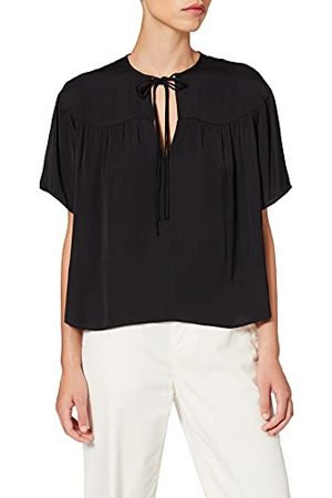 Scotch&Soda Maison Dames Drapey Short Sleeve Top Blouse, Black 0008, XL