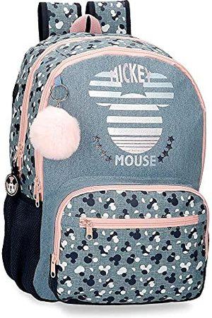 Disney Mickey Denim schoolrugzak met twee vakken, aanpasbaar aan de wagen, 32 x 44 x 17 cm, polyester, 23,94 l