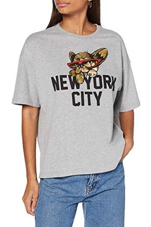 Superdry Dames City New York Graphic Tee T-shirt, Grey Marl, S