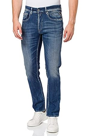 Replay Grover, herenjeans, rechte pijpen, regular waist, stijlvolle stretch-jeans voor mannen, denim jeans, (medium blue) 9), 28W x 30L