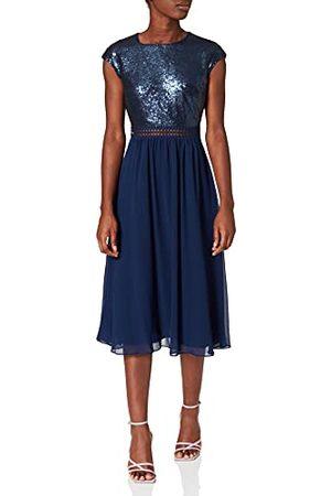 TRUTH & FABLE Amazon Brand - WAARHEID & FABEL Maxi Chiffon jurk voor dames, (Navy Paillet),8