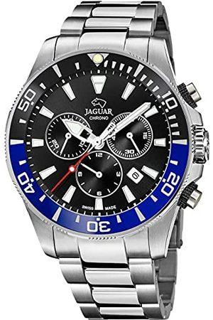 Jaguar Horloge, model J861/7, uit de collectie Executive, 43,5 mm, zwart, met stalen armband voor heren.