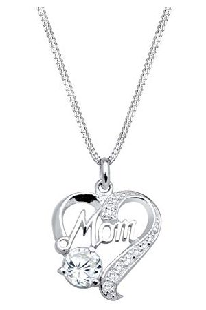 Elli Dames Kettingen - Damesketting met hanger MOM-opschrift hart 925 zilver zirkonia briljant geslepen 45 cm - 0104723013_45