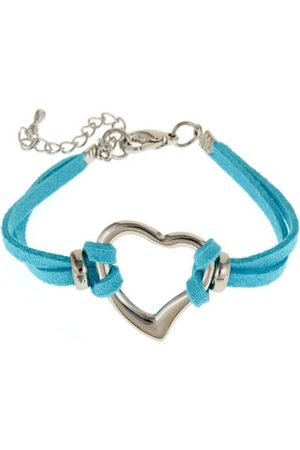 Glam and Gloria Elegant hartje liefde vriendschapsarmband/armband van turquoise leer