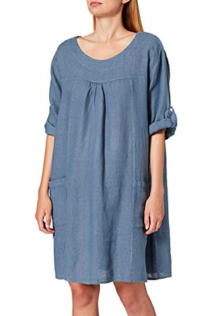 Bonamaison Dames korte ronde kraag jurk met zakken en lange verstelbare mouwen casual