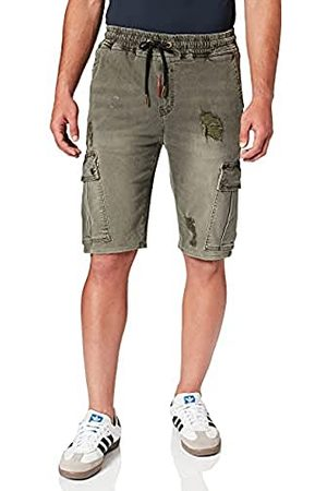 Gianni Kavanagh Army Green Ripped Cargo Shorts voor heren.