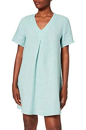 Bonamaison Dames jurk met korte mouwen en geplooide voorkant casual