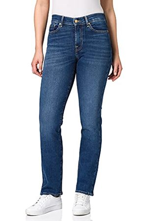7 for all Mankind Dames The Straight Mid Blue Jeans
