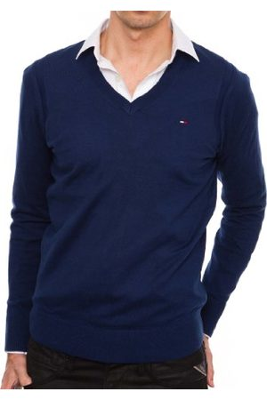 Tommy Hilfiger Heren lang - normale trui, (466 inktblauw), L
