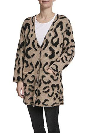 Urban classics Dames Cardigan Ladies Leo gebreide jas met dierenprint