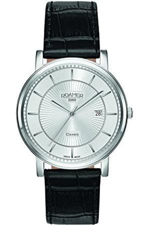 Roamer Heren Horloges - Heren Quartz horloge met zilveren wijzerplaat analoge display en zwarte lederen band 709856 41 17 07