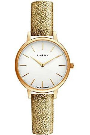 LLARSEN Dames analoog kwarts horloge met lederen armband 146GWG3-GGOLD12