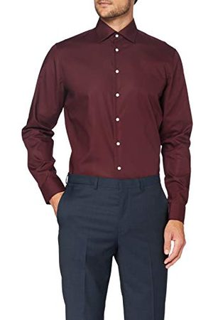 Seidensticker Zakelijk overhemd voor heren, strijkvrij, getailleerd overhemd met lange mouwen, Kent kraag, 100% katoen, bordeaux, 41