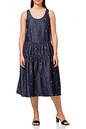 "Moschino Love Damesjurk, geborduurd, allover""Ladybirds"", chambray, mouwloze jurk, (Embroidery 8001), 40"