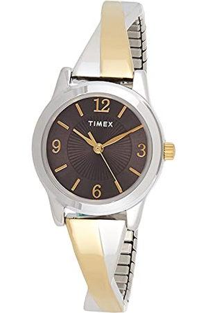 Timex Stretch armbanden 25mm Womens Black Dial tweekleurige uitbreidingsbandhorloge TW5M38700
