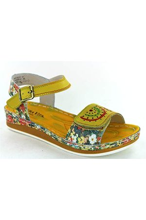 LAURA VITA Brcuelo 41 Peeptoe sandalen voor dames, Jaune Jaune Jaune, 38 EU