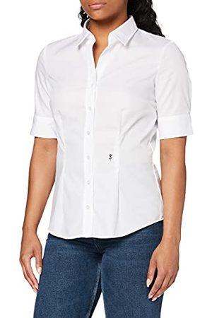 Seidensticker Damesblouse – strijkvrije, smalle getailleerde hemdblouse met hemdblousekraag en kraaghals – korte mouwen – 100% katoen