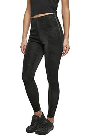 Urban classics Dames Ladies Washed Faux Leather Pants Broek