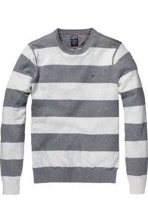 Tommy Hilfiger Heren lang - normale sweater, (118 Snow White/Mid Grey Heather), 48 NL