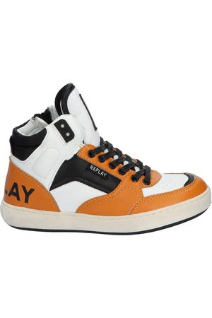 Replay Heren Veterschoenen - Wall Mid Cut Lace Up Sneaker White Nugget