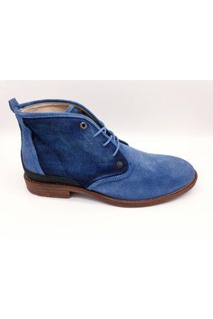 PME Legend Pme legend daily navy blauwe suède halfhoge schoenen met denim details
