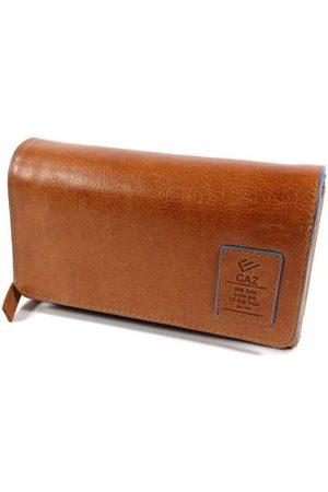 GAZ Dames Portemonnees - Grote dames portemonnee met dubbele klep en rits RFID Cognac