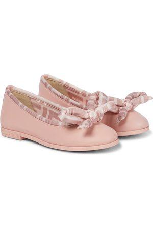 Fendi Meisjes Ballerina's - FF bow leather ballerinas