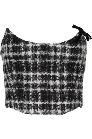 Alessandra Rich Checked mohair, wool and cotton-blend tweed bustier