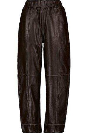 Ganni Mid-rise wide-leg leather pants