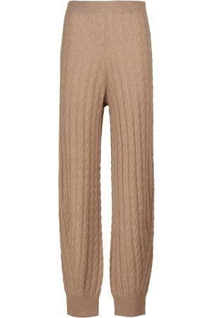 Totême Dames Stretchbroeken - Cable-knit stretch-cashmere pants