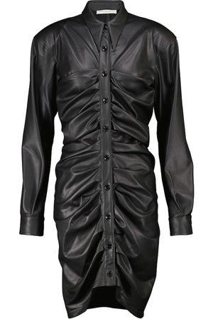Serafini Ruched faux leather minidress