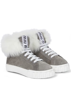 Miu Miu Shearling-lined suede sneakers