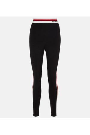 Miu Miu Striped stretch-cotton leggings