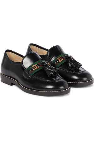 Gucci GG and web leather loafers