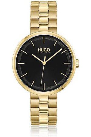 HUGO BOSS Horloge met zwarte wijzerplaat en geelgoudkleurige afwerking
